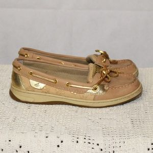 Sperry Top Sider Tan Gold Boat Shoes 6.5